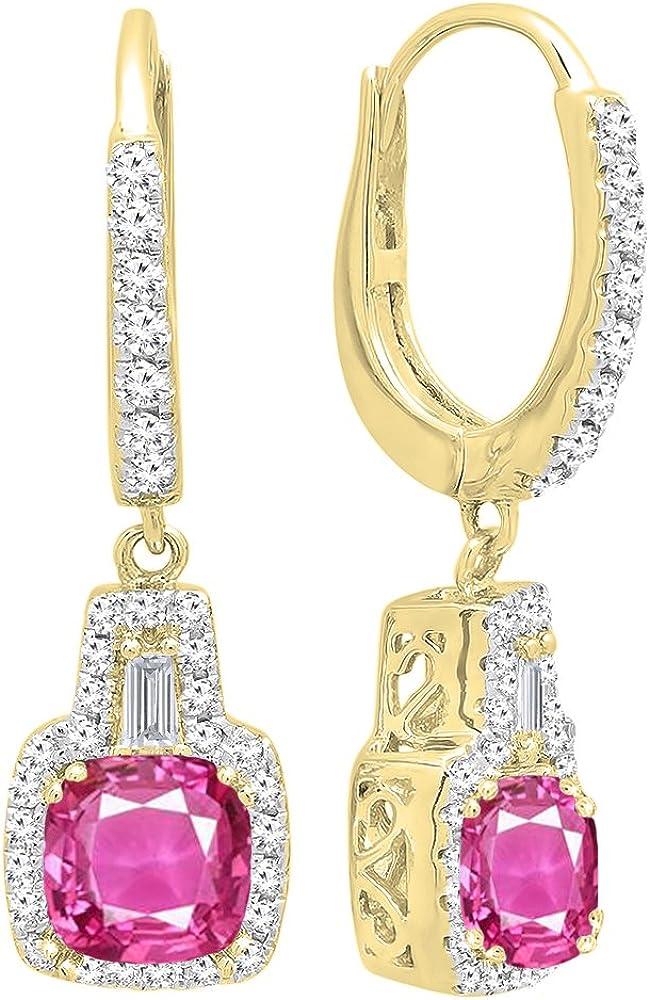 DazzlingRock Collection 14K Oro Amarillo 5MM Cada Piedra Preciosa del Amortiguador y Pendientes de Gota cónicos y Redondos de Las Mujer del Diamante Zafiro Rosa Zafiro Rosa