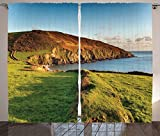 Seaside Decor Collection The South West Coast Path as It Passes Hemmick Beach from Gorran Haven Cliffs Picture Living Room Bedroom Curtain 2 Panels Set Olive Green