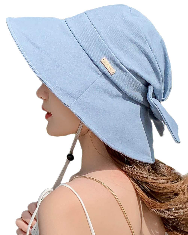 Womens Sun UV Protective Bucket Hats Summer Garden Shade Sunblock Beach Safari Hat UPF SPF 50 Packable Crushable Blue