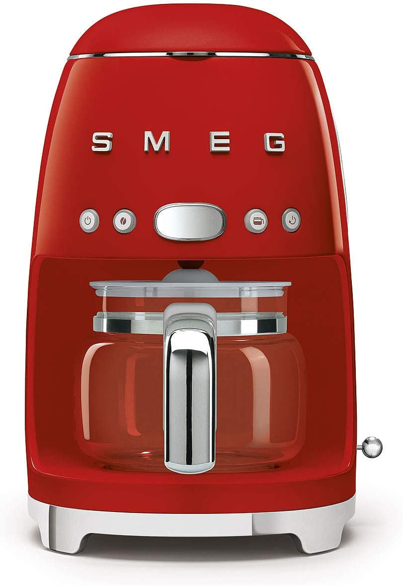 Smeg DCF02RDUK Drip Coffee Machine, 10 Cup Capacity, Auto-Start Mode, Reuseable Filter, Digital Display, Anti-Drip System, Aroma Intensity Option, 1.4 Litre Tank, Red