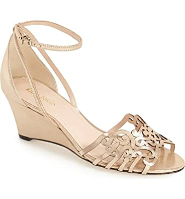 Klub Nico Kingston Ankle Strap Wedge Sandal, Champagne Gloss Size: 8 B(M