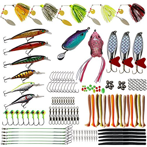 AGOOL Fishing Lures Baits Tackle Kit- 170pcs Crankbaits Topwater Frog Lures Swimbait Spoon Spinner Baits Rubber Worms Jig Head Hook Fishing Wire Rig Spring Twist Lock Fishing Baits Bass Trout Salmon