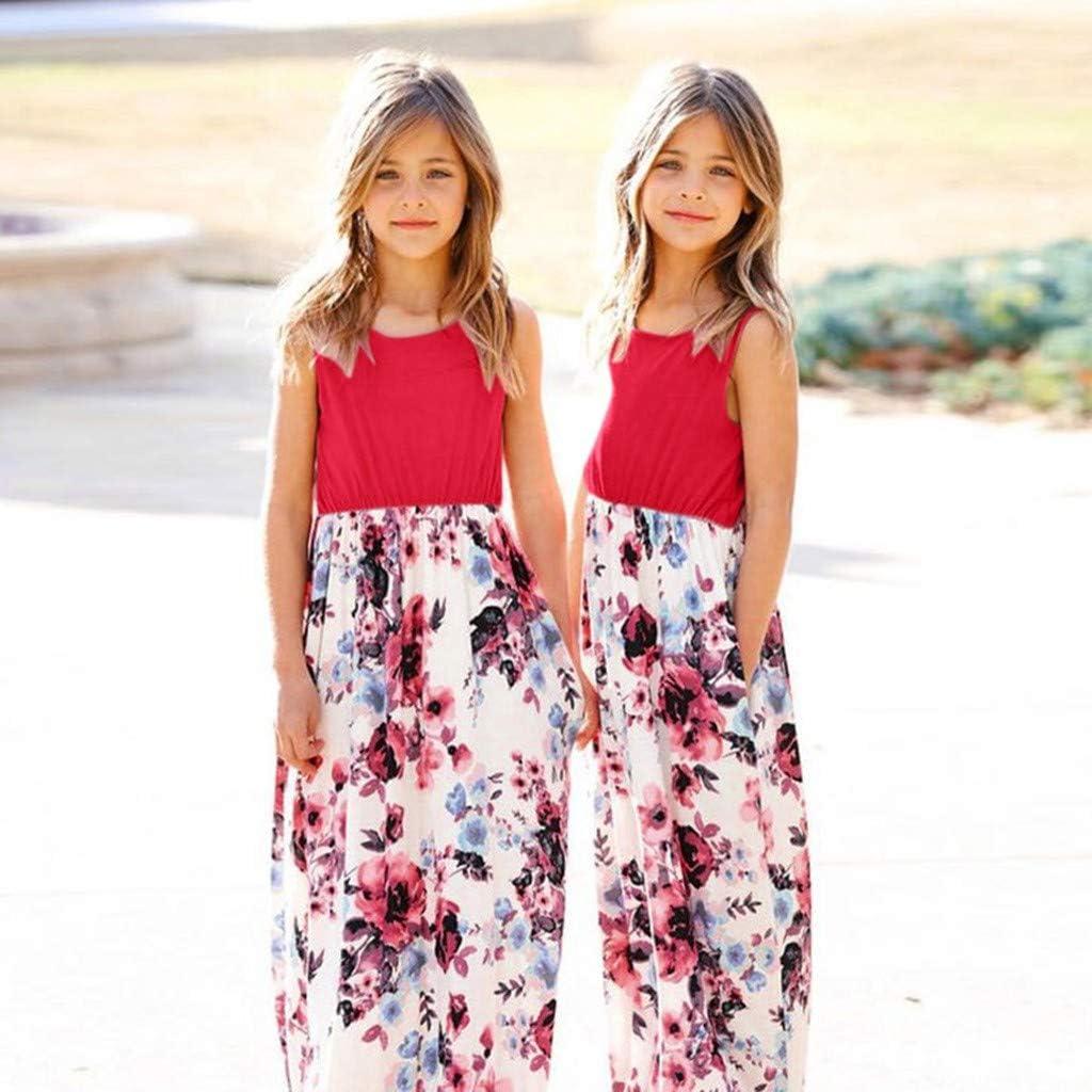 Newmao Baby Girls Summer Sleeveless Floral Print Long Maxi Dress with Pocket