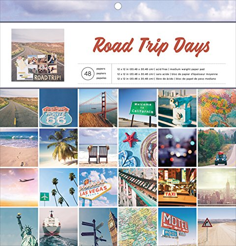 American Crafts 48 Sheet 12 x 12 Inch Paper Pad Road Trip (Day Paper Pad)
