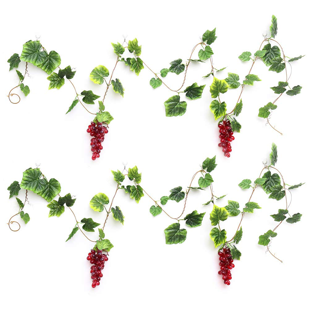 Purple YILIYAJIA 2PCS Artificial Grapes and Vines,Fake Garlands with Greenery Ivy Leaves,Hanging Plants and Fruits for Home Garden Courtyard Decoration