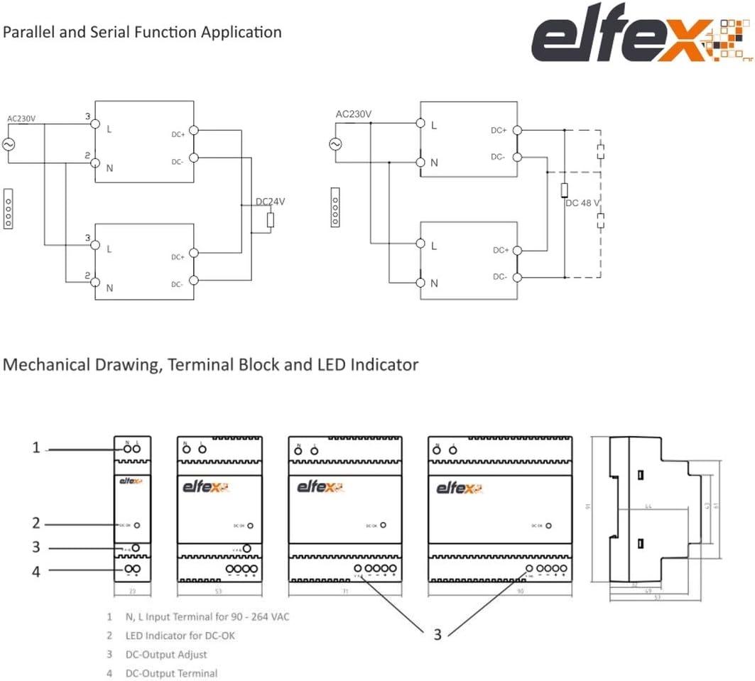 Elfex Bloc DAlimentation sur rail DIN 60W,12-15V Dc R/églable EFX060-GP12V