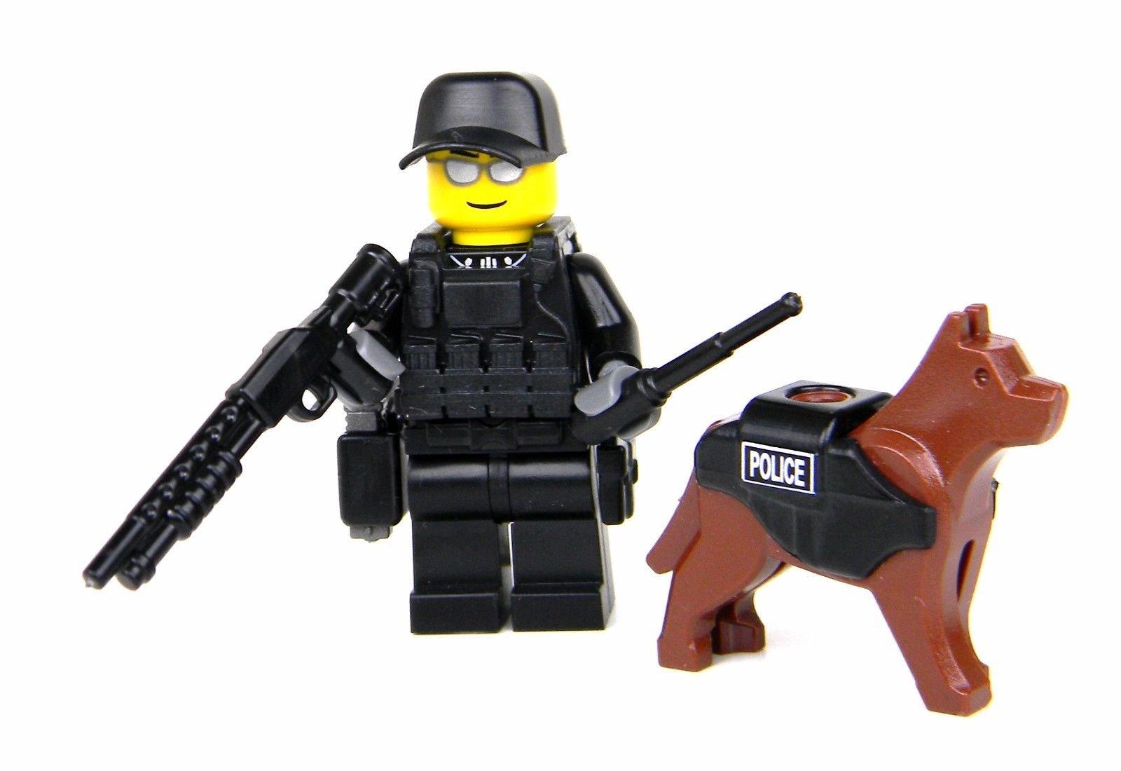 Battle Brick Police K9 Tactical Assault Officer Collectible Custom Minifigure