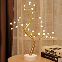 Auelife Upgraded Copper Wire Tree Branch Lights,Warm White LED with 36 White Pearls,Table Lamp for Home Decoration…