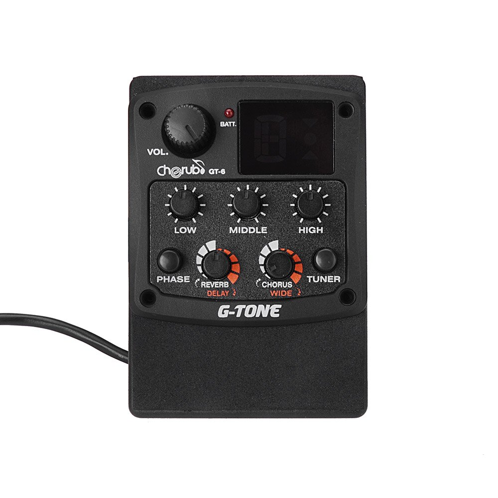 Oask GT-6 Acoustic Guitar Preamp Piezo Pickup,3-Band EQ Equalizer system LCD Display Digital Tuner with Reverb/Delay/Chorus/Wide Effects(Black)