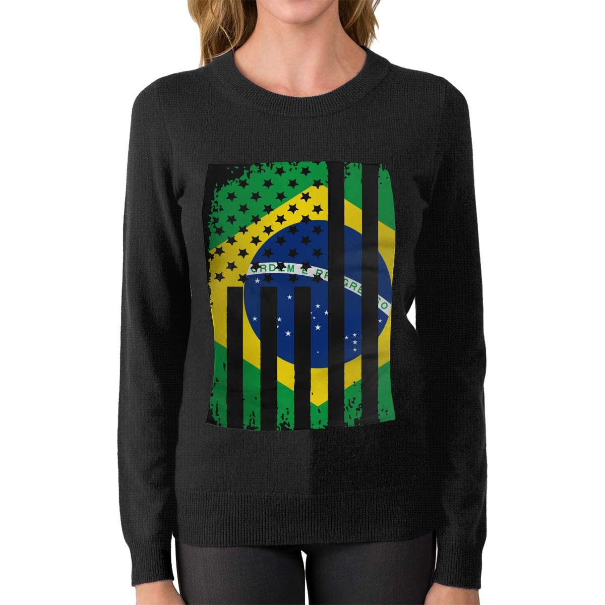 Womens Brazil American Flag Crew Neck Long Sleeve Basic Pullover Sweater Winter Tops