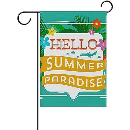 Amazon Com Dweobolufz Hello Summer 12 X 18 Inch House Flag