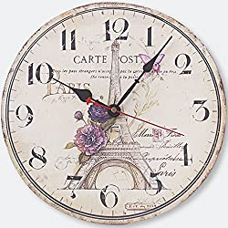 Wooden Wall Clock, Yesee Retro Style No Ticking Silent Clock Battery Operated with Famous Movement, [NO CASE] Vintage Decorative Wooden Wall Clock for Living Room,Bedroom (12 Inches, Paris Tower)