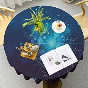 JKTOWN Astrology Tablecloth for Wedding Party Event Decoration 63 inch Fortune Telling Birth Chart Zodiac Signs in Space Geometrical Image Turquoise Blue and White