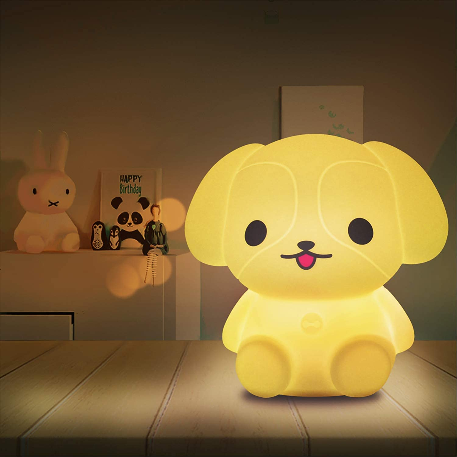 Night Light for Kids-LED Lamp for Babies Kawaii Room Decor with Remote Control-Cute Puppy Animal Lamp for Boys,Teen Girls,Gift for Christmas,Color Changing Portable Remote Control