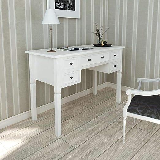 vidaXL Escritorio Mesa de Oficina Blanco Con 5 Cajones Elegante ...