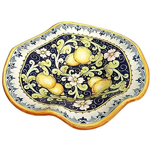 CERAMICHE D'ARTE PARRINI - Italian Ceramic Serving Bowl Centerpieces Decorated Lemons Hand Painted Art Pottery Made in ITALY Tuscan
