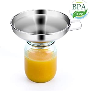 5.7 Inch 18/10 Stainless Steel Jam Jar Funnel with Handle Wide-Mouth Kitchen Canning Funnel