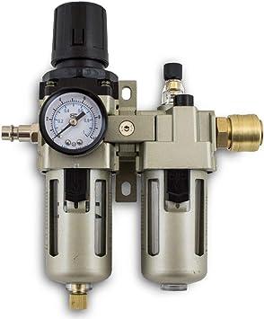 1//4 Druckluft Öler Wartungseinheit Abscheider+Druckminderer+Manometer+ANSCHLÜSSE