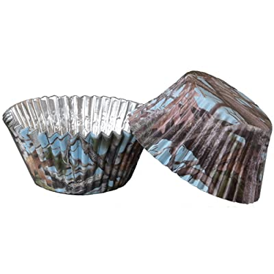 Light Blue Camo Cupcake Liners (36 pack, foil backed, Hi Def.color will not fade) Light Blue Camo Party Collection by Havercamp: Toys & Games