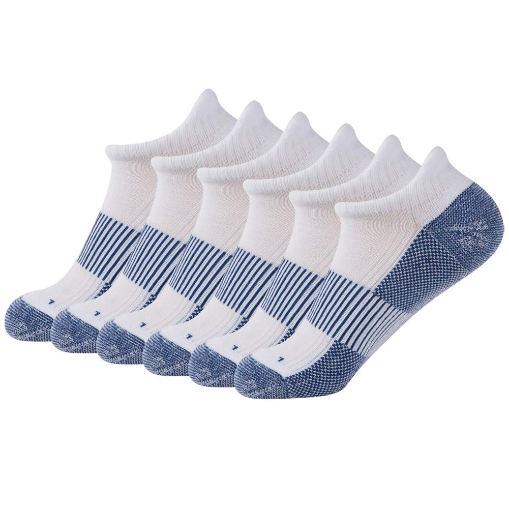 FOOTPLUS Copper Infused Ankle Anti- Odor Antibacterial Moisture Wicking Arch Support Quick Dry Breathable Hiking Socks, 6 Pairs White& Blue, Medium by FOOTPLUS