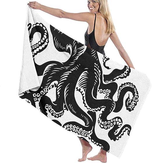 N / A Diseño de Tatuaje de Pulpo Negro clásico Toalla de Playa ...