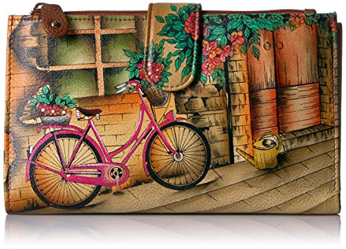 Anuschka Handpainted Leather Large Smartphonecase & Wallet-vintage Bike Wallet, VINTAGE BIKE, One (Anuschka Purse)