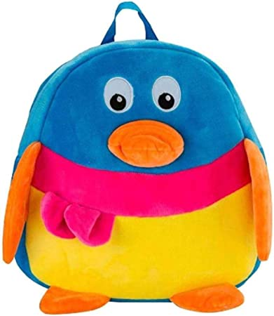 Blue Tree Duck Kids Soft Plush Multicolour Cartoon Backpack for Travelling, Picnic Bag, Gift Purpose (Duck 3-5 Years)