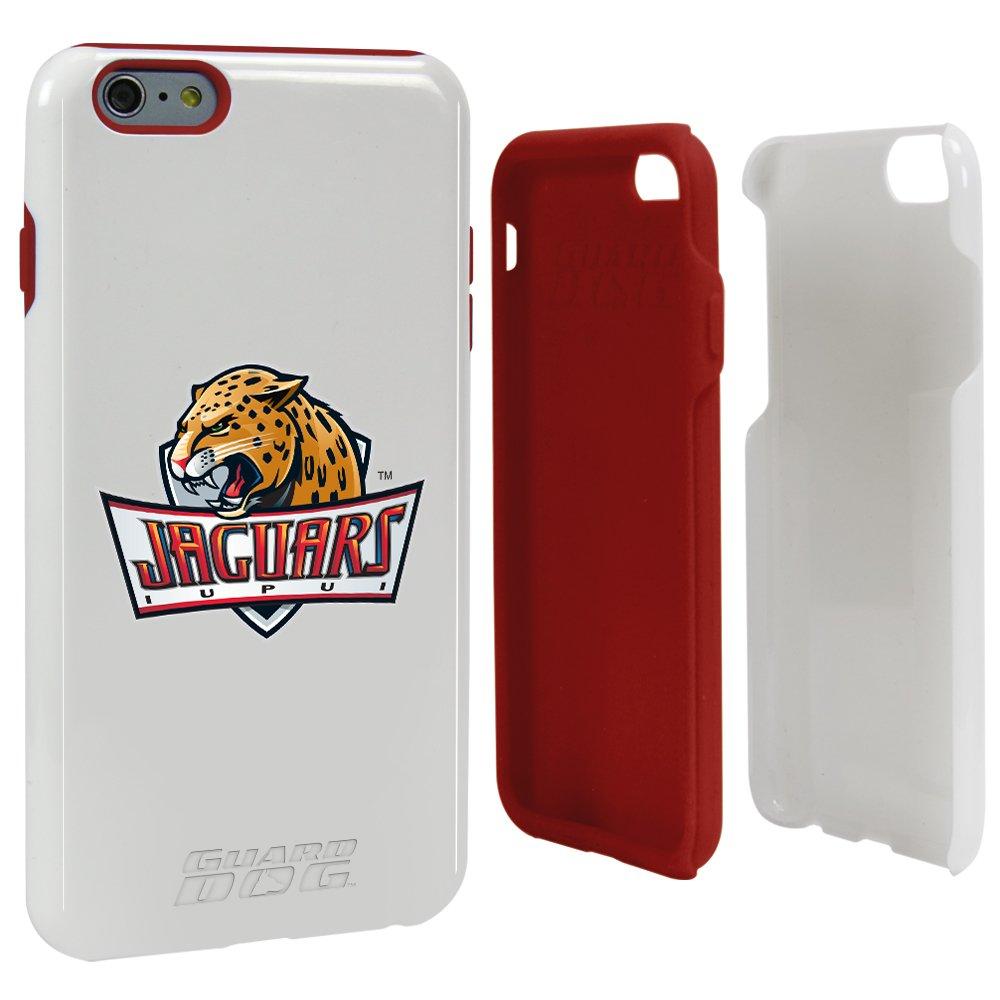 IUPUI Jaguarsホワイトガード犬ハイブリッドケースiPhone 6 Plus / 6s Plus用ガードガラススクリーンプロテクター   B071RZ6VFL