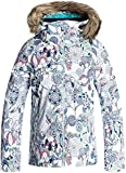 Roxy Big Girls' American Pie Snow Jacket, Bright White_Hackney Empire, 8/Small