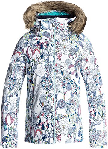 Roxy Big Girls' American Pie Snow Jacket, Bright White_Hackney Empire, 10/Medium by Roxy