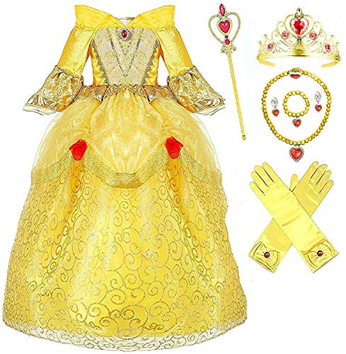 (Princess Belle Deluxe Yellow Party Dress Costume (4-5, Style 3))