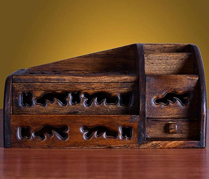 Nuevo salón de madera maciza de mesa de control remoto de madera de madera de bombeo de cartón higiénico creativo de almacenamiento multi-funcional caja de ...