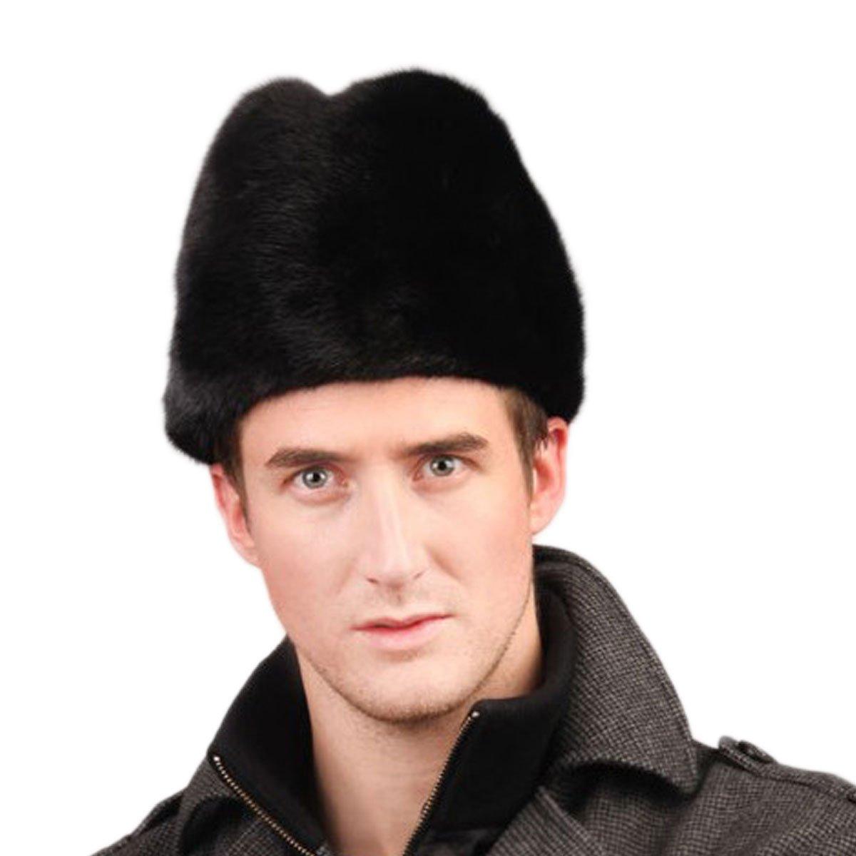 URSFUR Men's Mink Fur Knit Skull Caps Black