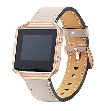 Bestow Fitbit Blaze Reloj de Pulsera de Cuero de Lujo Correa para la Mu?eca + Reloj de Pulsera de Marco de Metal Caballo Loco (Beige): Amazon.es: Ropa y ...