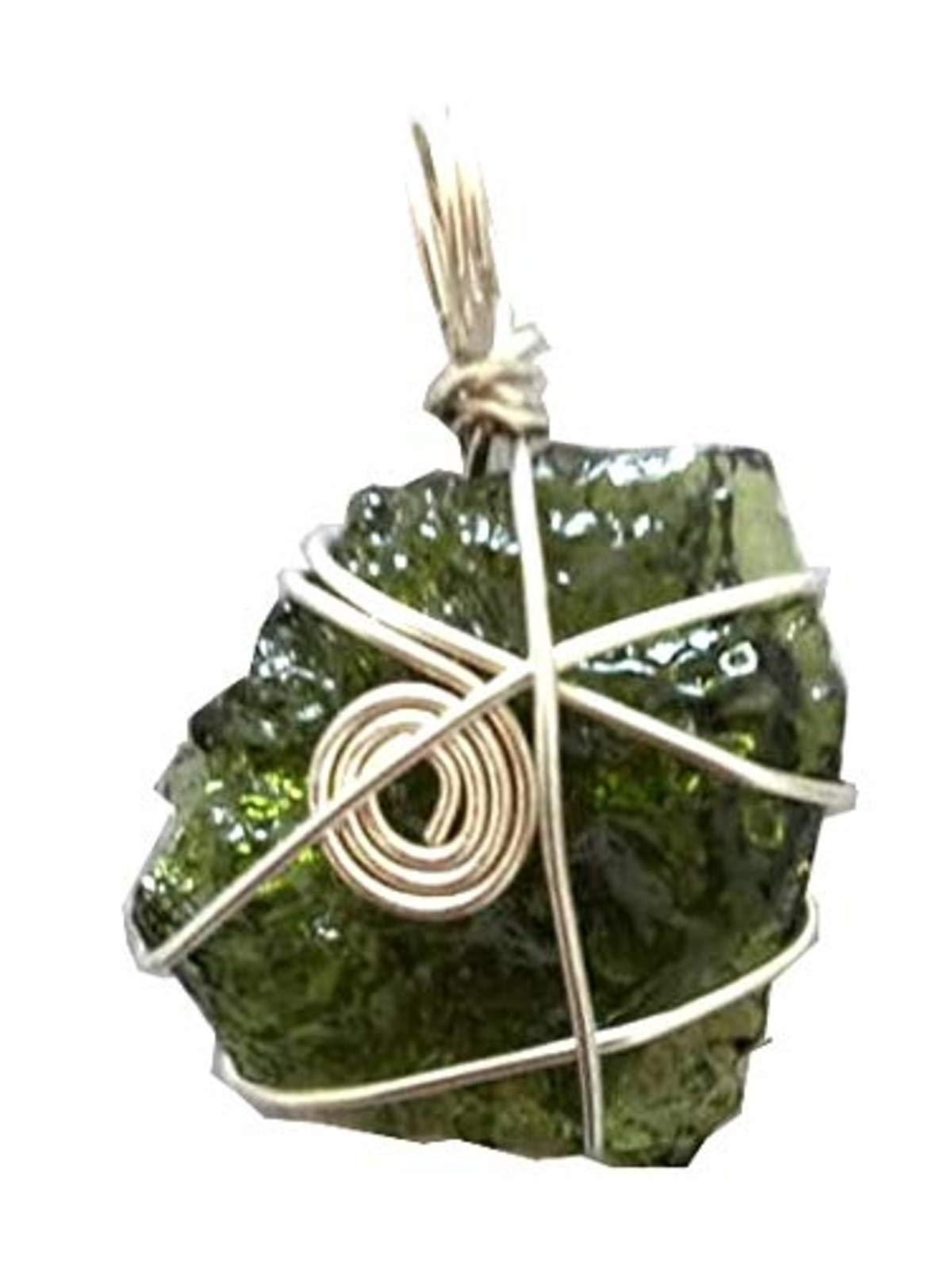 Pooja Gems Moldavite Pendant by The Gram - Natural raw Rough- Tektite Pieces Natural Unheated Healing Gemstone from Czech Republic (30 Carats)