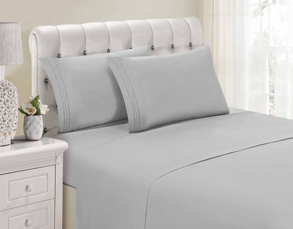 1800 Series Egyptian Collection 3 Line Microfiber 4 Piece Bed Sheet Set (King, Silver Grey