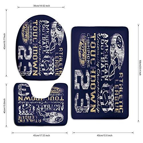 3 Piece Bath Mat Rug Set,Sports,Bathroom Non-Slip Floor Mat,Retro-American-Football-College-Illustration-Athletic-Championship-Apparel-Decorative,Pedestal Rug + Lid Toilet Cover + Bath Mat,Purple-Whit by iPrint (Image #3)