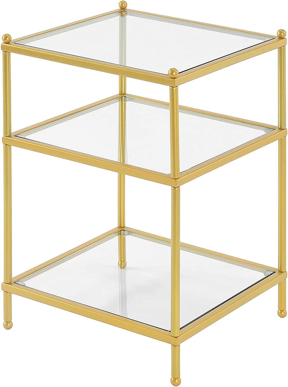 Convenience Concepts Royal Crest End Table, Clear Glass / Gold