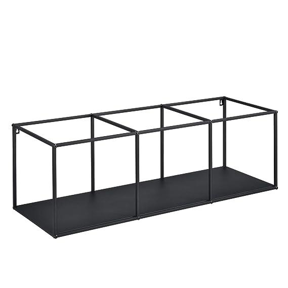 Konsolentisch mit 4 Regalen Kommode Abstelltisch 80x121x32 cm mit Regalset Ablage Wandregal schwarz en.casa