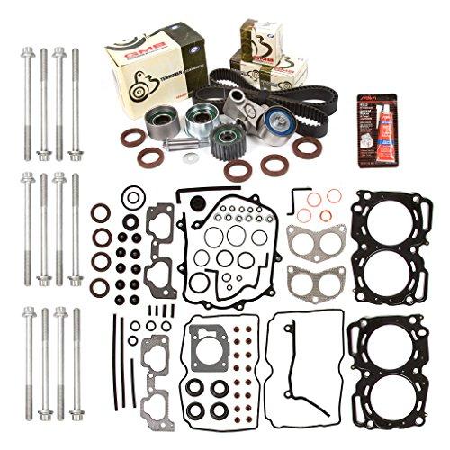 Evergreen HSHBTBK9009MLS MLS Head Gasket Set Head Bolts Timing Belt Kit  Fits 99-03 Subaru 2 5 SOHC EJ251 EJ252