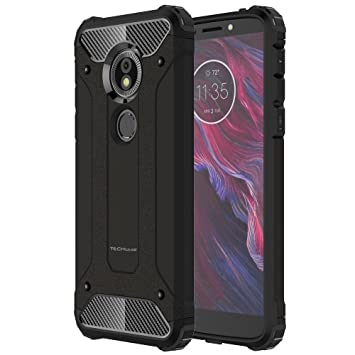 half off 3f050 9225c TECHGEAR Moto G6 Play Case - [Tough Armoured] ShockProof Dual-Layer  Protective Heavy Duty Tough Cover Compatible with Motorola Moto G6 Play -  (Black)