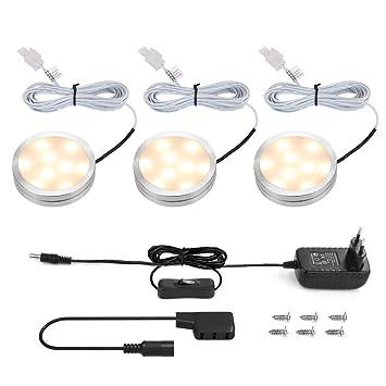 LE Focos LED para Muebles Cocina 6W 510lm en total, Luz Cálida Potente, luces para Vitrinas Encimera Armario Estante Repisa, pack de 3: Amazon.es: Hogar