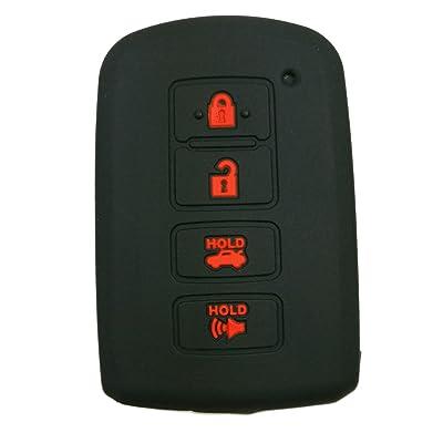 Alegender Black Rubber Key Fob Cover Case Remote Holder for Toyota Highlander RAV4 Camry Avalon Corolla 4 Buttons Smart keyless Entry Remote: Automotive