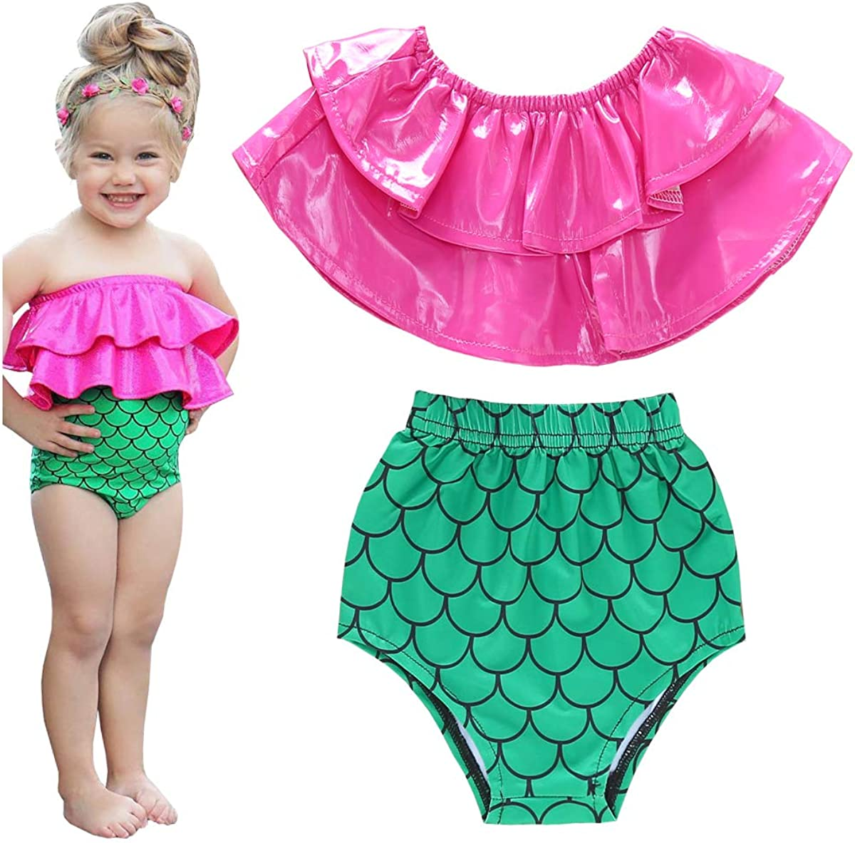 Baby Girls Mermaid Bikini Set 2 Piece Swimsuit Toddler Swimwear Strapless Ruffle Top+High Waist Underwear