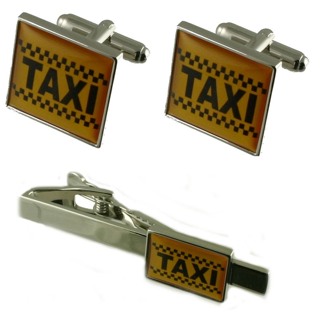 Select Gifts Taxi Tie Clip with Cufflinks Matching Gift Set