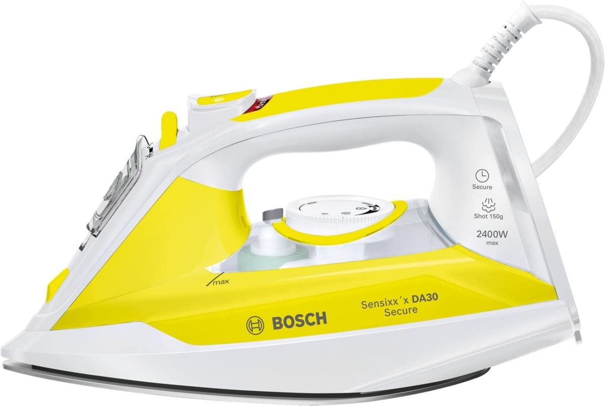 Bosch Sensixx'x DA30 Secure TDA3024140 Blanco, Amarillo - Plancha (2 m, Blanco, Amarillo, 40 g/min, 0,32 L, 2400 W)