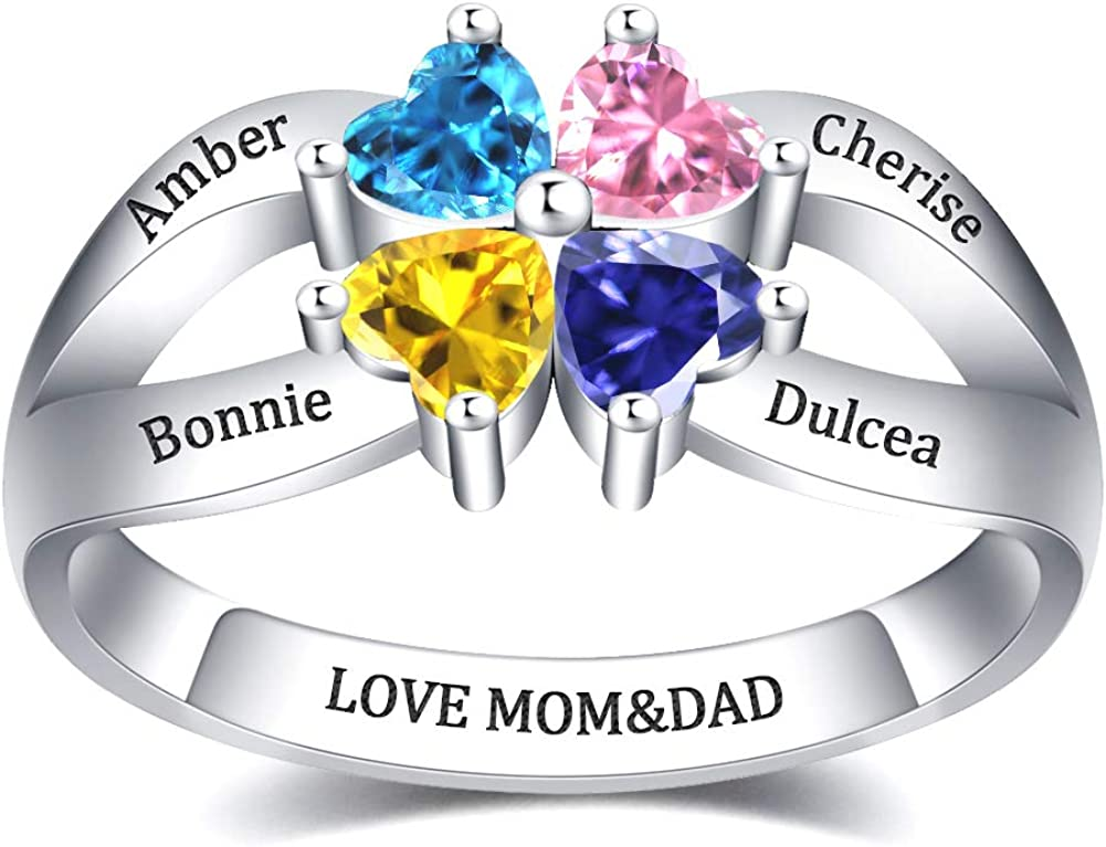 Womens Sterling Silver Ring Personalized Birthstone Name Engraved Ring Gift
