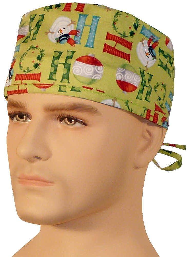 Ho Ho Christmas On Lime Green Mens And Womens Medical Scrub Cap