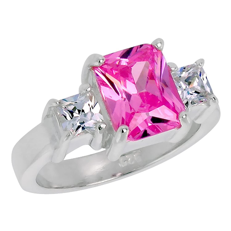 Amazon.com: Sterling Silver Cubic Zirconia 3-Stone Ring Emerald Cut ...