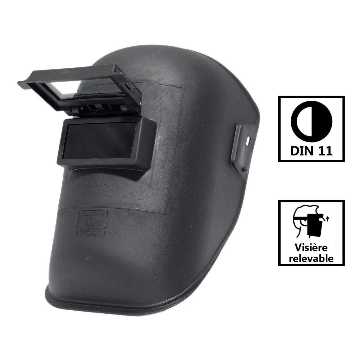 Pasamontañas de soldadura s700r - Máscara de soldadura con visera elevable - Cristal 50 x 105 - tono DIN 11: Amazon.es: Iluminación